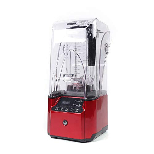 2.2KW Standmixer Smoothie Maker Blender Mixer, Schleifer und Eis-Zerkleinerungsmaschine mit Schallschutz 2.2L Rot, EU Plug