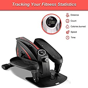 GREARDEN Under Desk Elliptical Machine, Mini Cycle Exercise Bike, Desk Elliptical Machine Trainer with Non-Slip Pedal, Display Monitor & Adjustable Resistance for Home Office Workout (Black)