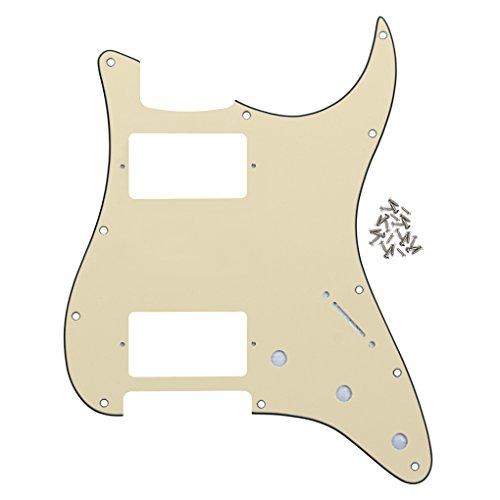 IKN Golpeador de doble corte Humbucker de 11 orificios HH Strat Guard con tornillos de montaje para guitarra Stratocaster estándar Americana, 3 capas crema