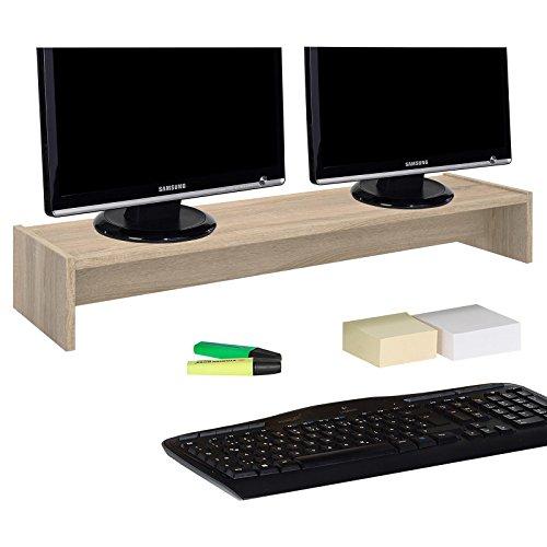 CARO-Möbel Monitorständer Zoom für 2 Monitore Bildschirmerhöhung Schreibtischaufsatz Tischaufsatz 100 x 15 x 27 cm in Sonoma Eiche