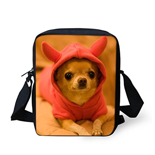 Coloranimal Casual Mini Messenger Bag Kawaii Chihuahua Pattern Shoulder Bag Gym Sport Lightweight Crossbody Purse Travel Handbag Men Women School Bookbag for Child Girls Boys Cellphone Wallet