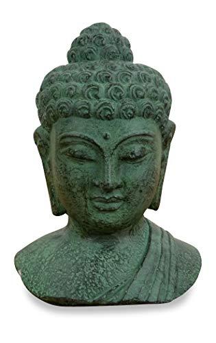 livasia Buddha Steinbüste, Buddhaskulptur, Dekofigur, Steinfigur (grün)