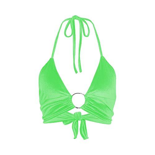 Women Halter Backless Crop Tops Streetwear Club Patchwork Camisole (S, Neon Green)