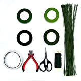 Floral Arrangement Kit,9 Pack Floral Arrangement Tools Include Floral Wire Cutter Shears, 4 Floral Tape,100 Pcs Stem Wire, Paddle Wire and Double-Sided Tape for Florist and Floral Design Lovers
