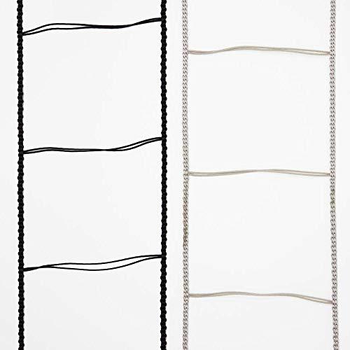 Leiterkordel für Jalousien (gebördelte Lamelle, 80 mm, grau/schwarz) (200cm, Grau)