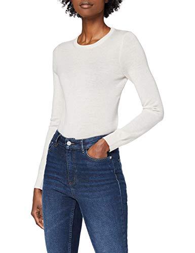 Amazon-Marke: MERAKI Merino Pullover Damen mit Rundhals, Beige (Oatmeal), 44, Label: XXL
