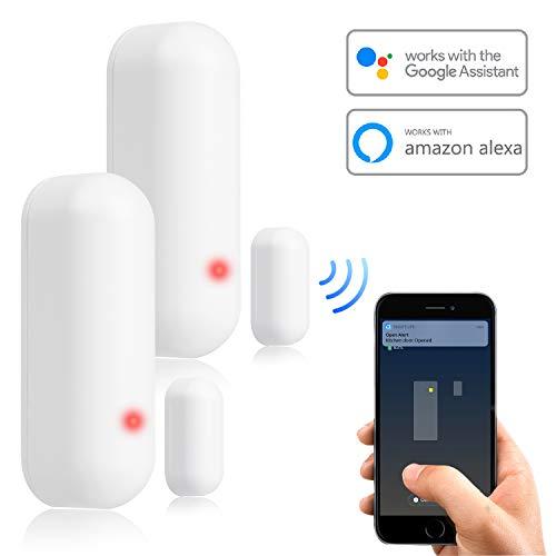 WiFi Tür und Fenster Smart Sensor Alarm, APP Control Drahtloses Sicherheitssystem mit Push-Benachrichtigung, universelle Installation, kompatibel mit Amazon Alexa, Google Home, IFTTT (2)