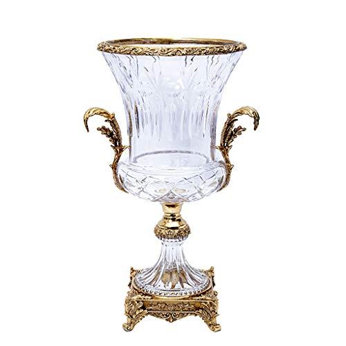 CJshop Vasen Vintage und Elegante Kristallglas-Vase, Haupt Art, Desktop-Zubehör, Urlaub, Geschenke, Golden Frame, 15,5 Zoll hoch, 9,0 Zoll breit Wohnaccessoires & Deko