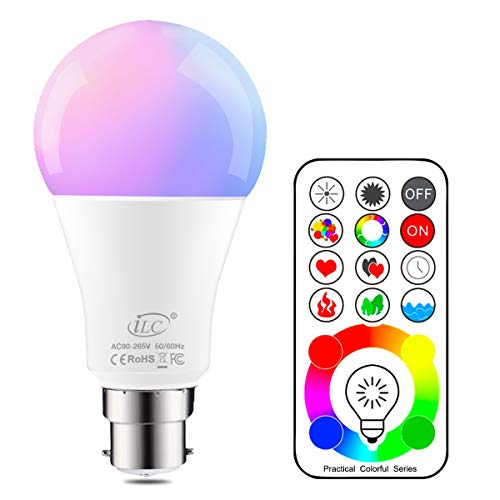 iLC LED Ampoules de couleur Changement de Couleur Ampoule RGB+Blanc Baïonnette - 120 Choix de Couleur Dimmable - 10Watt B22 Types RGBW LED Ampoules - 2 Modes Dynamiques - Télécommande Compris