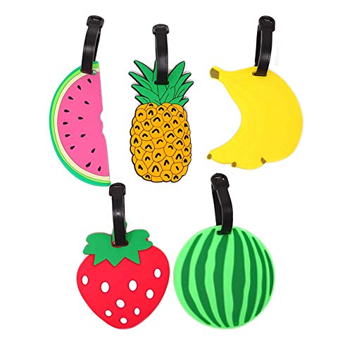 Dusenly 5pcs Colorful Fruits Luggage Tags Suitcase Backpack Labels Silicone Travel Baggage Labels