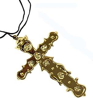 crazy(クレイジー)十字架ネックレス ハロウィン特集 シスター コスプレ 小物 十字架 神父 プラスチック ネックレス チョーカー アイテム 小物 アクセサリ コスチューム用小物 マルチ レディース ワンサイズ (ゴールド)