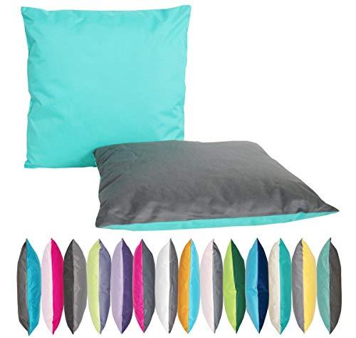 JACK 2-farbiges Wende Outdoor Lounge Kissen 45x45cm Dekokissen Wasserfest Sitzkissen Garten Stuhl Lotus Effekt, Farbe:Anthrazit - Aqua