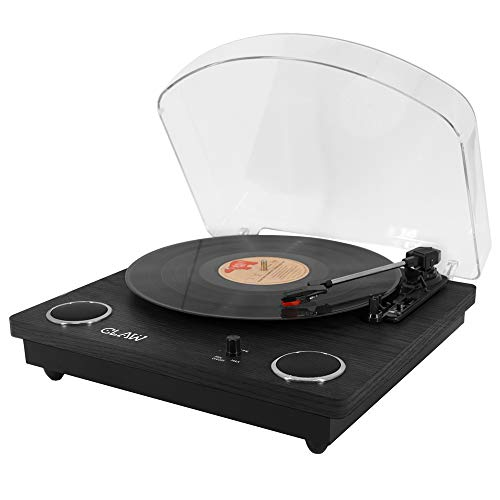 CLAW Stag Superb Plus Vinyl Record Player 3 Speed Turntable with Built-in Stereo Speakers and USB Digital Conversion Software for PC (Black)