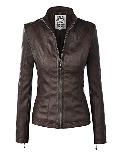 Brown Women's Leather Motorcycle Jacket