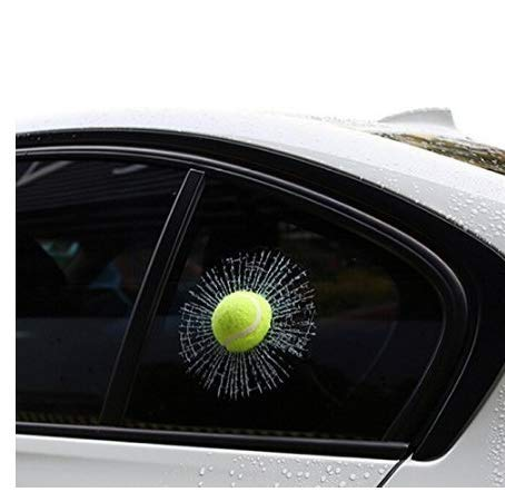 Gwill 2 unids Funny 3D Car Styling Ball Hits Car Body Window Sticker autoadhesivo Baseball Tennis Decal Accesorios