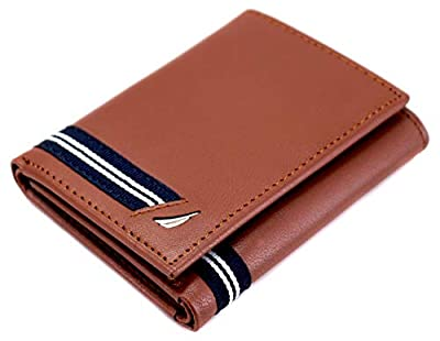 Nautica Men's NU Leather Credit Card ID Window Trifold Wallet Tan
