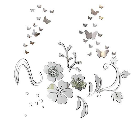 HO2NLE Pegatinas Pared Espejo Decorativas 3d Mariposas Vinilo Pared Flores Florero Adhesivos Decoración DIY Hogar Habitación Dormitorio Baño