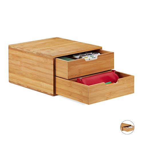 Relaxdays Schubladenbox Bambus, Schubladen Organizer, natürliche Optik, Tischorganizer Büro, HBT: 18 x 30 x 31 cm, Natur, 2 Fächer