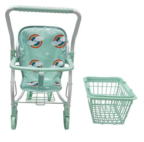 Roma Rupert Toy Shopping Trolley Suitable from 24 months - mint Roma The Rupert shopping trolley measures 62cm from the floor to the handle. Removable Shopping basket Available in primrose or mint - Unique Rainbow Design 2