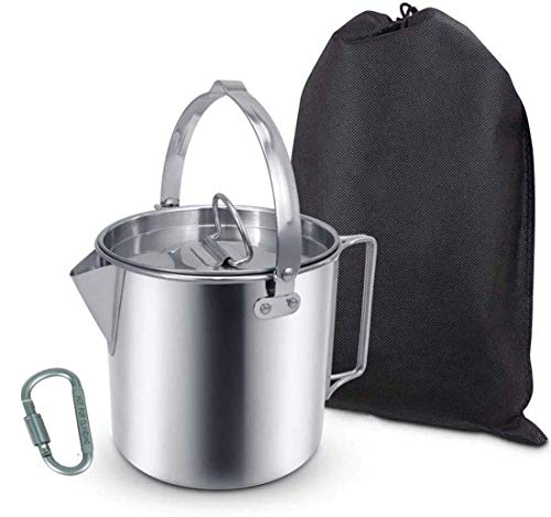 AITREASURE Camping Tea Kettle Stainless Steel Hiking Pot Portable 1.2L Coffee Pot with Handles and with Lids for Camping Hiking Picnic