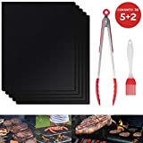 inrobert barbecue grill mat, set of 5+2 grill cooking mats, lavori a gas riutilizzabili e facili da pulire lamiere per barbecue elettrico per giardino (nero-40x33 cm)