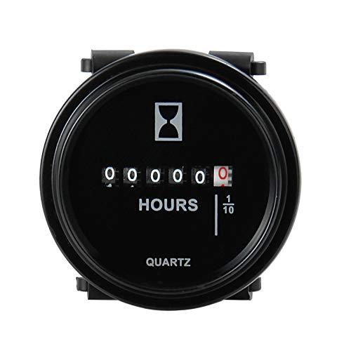 ZHELIOSMX Medidor de horas de motor mecánico redondo 6 V 12 V 24 V 36 V 48 V 60 V utilizado para cortacésped, tractor, remolque, camión, carros de golf, generador