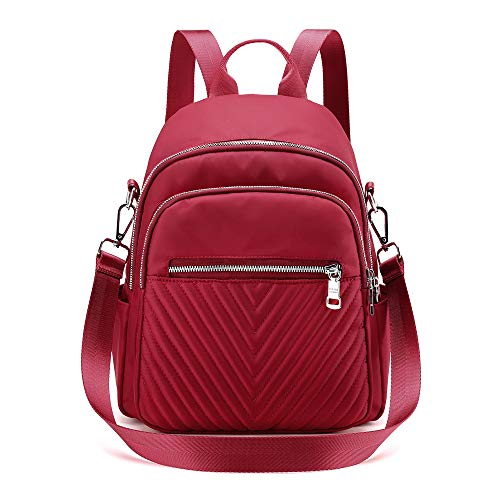 Backpack for Women, Nylon Waterproof 3 Ways Convertible Rucksack Casual Daypack Small School Bags for Women Girls College Red