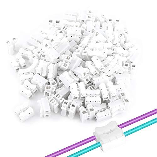 ANGGREK 100PCS Federverbindungsstück Selbstsichernde Clip-Stecker Kabel verbindungsklemme Push Typ Lock CH2 Schnellverbinder KabelKlemme für und Beleuchtung der Stromversorgung