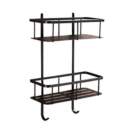 Zwarte douchecabine - wandmontage Rekken 304 roestvrij staal dubbele laag lange douche plank badkamer hanger