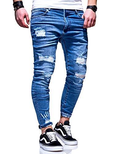 behype. Herren Destroyed Stretch Jeans-Hose Used 80-6376 Blau W29/L32