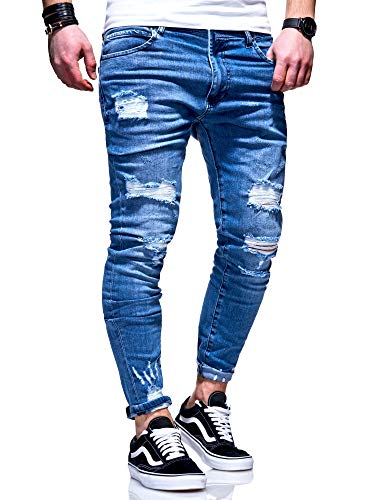 behype. Herren Destroyed Stretch Jeans-Hose Used 80-6376 Blau W29/L32