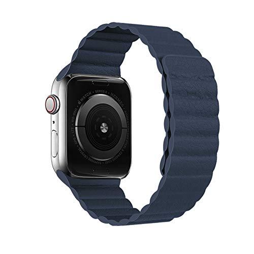 okkpbg Correa de Hombre Bucle de Cuero for Apple Watch Band 44mm 40mm 38mm 42mm Accesorios Pulsera magnética Pulsera de cinturón for iWatch Serie 3 4 5 SE 6 Correa Casual y Hermosa