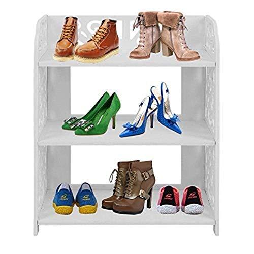 BXU-BG 4 estantes de pie de bambú para zapatos, soporte organizador de almacenamiento, longitud de 68 cm (3 niveles)