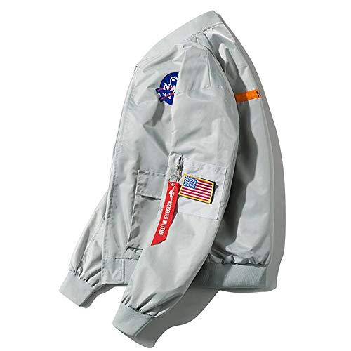 GHHYS Herren Bomber wasserdichte Jacke NASA Logo Baumwollkleidung Langarm Flight Windbreaker Air Force MA-1 Jacke Mantel Outdoor Sport,XL