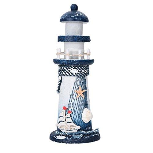 Chytaii. Leuchtturm Harz Leuchtturm mit Fischernetze Schale Deko Leuchtturm Dekoration Mittelmeer Stil Haus Deko Segelboot