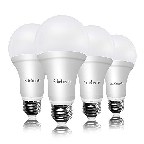 Scheinenda LED Light Bulbs 150W Equivalent(20w),A21 LED Bulb 2200LM High Power/Lumens and Daylight 5000K White Non-dimmable Lighting, E26 Base LED Bulb for Home Lighting, Ceiling Fixture, Pack of 4