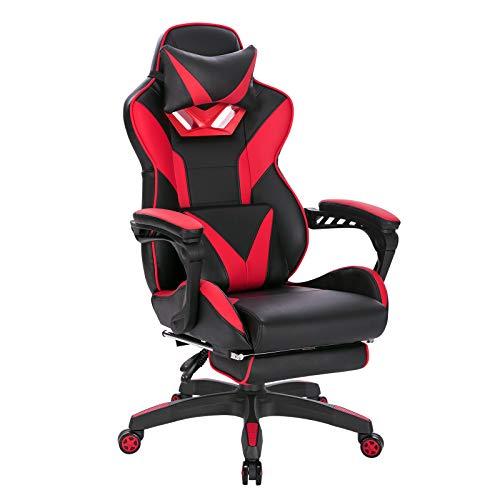 EUGAD Poltrona Gaming Sedia da Gioco da Ufficio Ergonomica con Cuscini Poggiapiedi Schienale Reclinabile Rosso e Nero 0070BGY