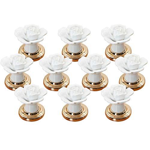 Ebeta 10er Vintage Schubladenknopf Schrankknöpfe Möbelknopf Schrankgriffe Türknöpfe Knauf für Schrank, Schublade, aus Keramik (Rose-Gold)