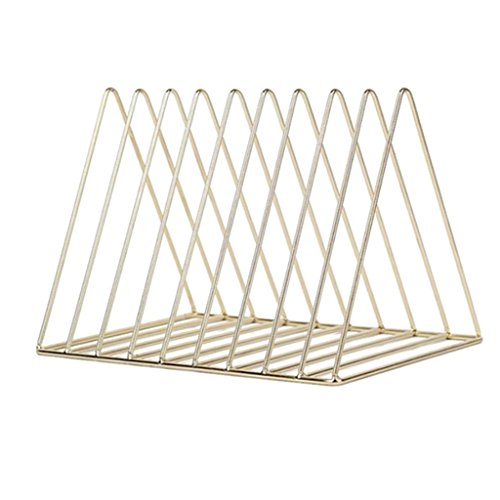 Fityle Metal Wire Magazine Storage Rack Holder for Home and Office Desktop Bookshelf Bookend - Gold, 26x17.8