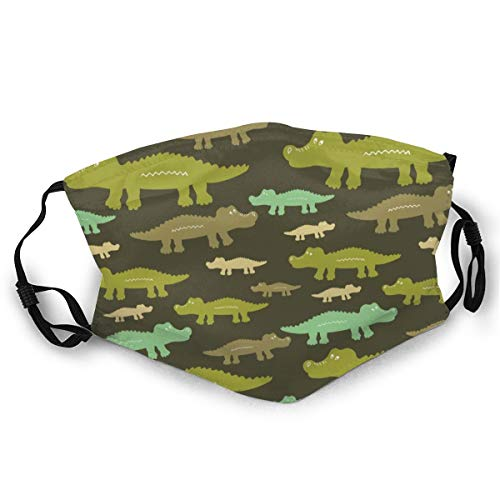 NOT Anti Dust Adults Comfortable Half Face Dinosaur Alligator Jungle Green Camo Adjustable Mouth Protection for Men Women