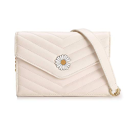 Ladies Small Cross-Body Shoulder Messenger Bag Daisy Beige Quilted PU Leather Evening Party Clutch Handbag with Metal Chain Strap