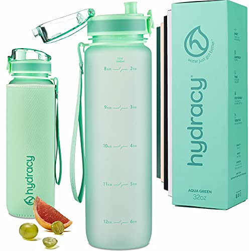 Hydracy Water Bottle with Time Marker - Large 1 Liter 32 Oz BPA Free Water Bottle -Leak Proof & No Sweat Gym Bottle with Fruit Infuser Strainer -Ideal Gift for Fitness or Sports & Outdoors -Aqua Green