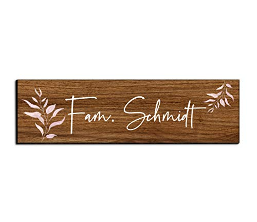 Holz Türschild mit Namen für die Haustür | Namensschild Briefkasten-Schild selbstklebend oder mit Bohrlöcher Klingelschild mit kratzfestem UV Druck | Größe 7x2 cm bunte Türschilder