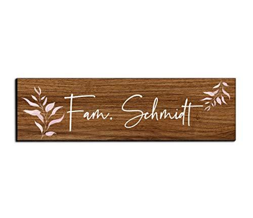 Holz Türschild mit Namen für die Haustür   Namensschild Briefkasten-Schild selbstklebend oder mit Bohrlöcher Klingelschild mit kratzfestem UV Druck   Größe 7x2 cm bunte Türschilder