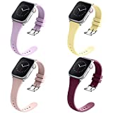 Compatible with Apple Watch Bands 38mm 40mm for Women Men, Adepoy Soft Silicone Narrow Slim Replacement Sport Wristbands for iWatch Series 6 5 4 3 2 1 SE (Small Yellow Pink Wine Lavender)