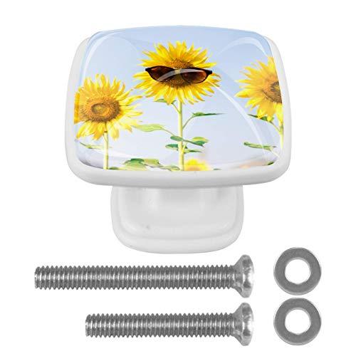 YATELI Flor con Gafas de Sol Perillas de extracción de para gabinetes, armarios, Puertas y cajones de Muebles: se Venden como un Paquete de 4 perillas
