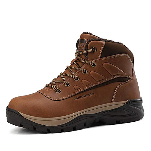 XIALIUXIA Men's Mid High Top Hiking Boot, Waterproof Non Slip Outdoor Lightweight Work Shoes Breathable Anti-Fatigue Ankle Boots,B,45
