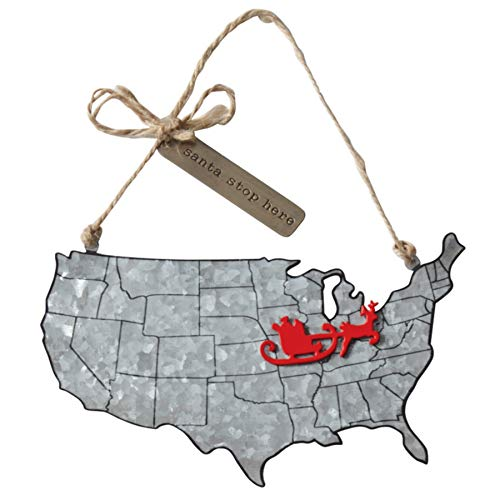 Santa Stop Here Galvanized Tin Map Ornament with Magnet