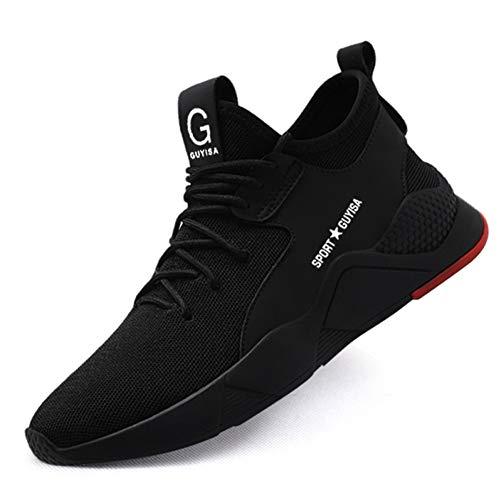 JIANYE Arbeitsschuhe S3 Herren Damen Sicherheitsschuhe mit Stahlkappe Schutzschuhe Unisex Atmungsaktiv Leicht Sneakers C-Schwarz 49