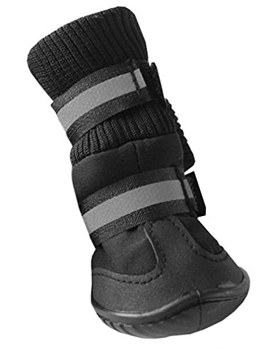 Hikong Wasserdicht 4 tlg. Hund Haustier Pet Pfotenschutz Schuhe Socken Hundeschuhe Winterstiefel Dog Shoes für Winter Schutz Größewahl 3 Farben